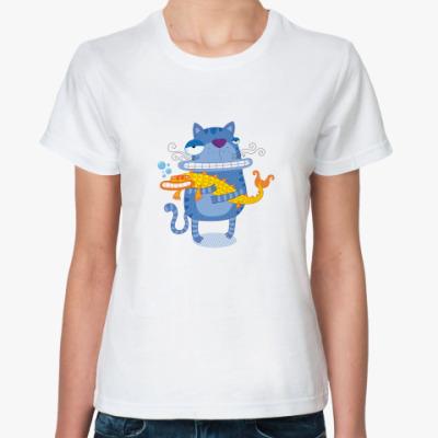 Классическая футболка  Кот с рыбой