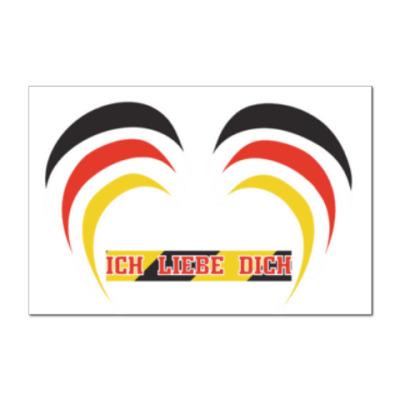 Наклейка (стикер) Я люблю тебя по-немецки