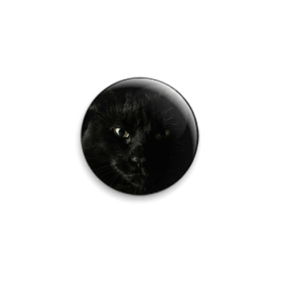 Значок 25мм Чёрный кот