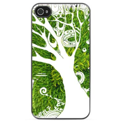 Чехол для iPhone Дерево на зеленом фоне