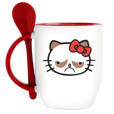 Кружка с ложкой Hello Grumpy Cat