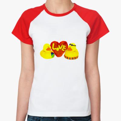 Женская футболка реглан Утиная любовь