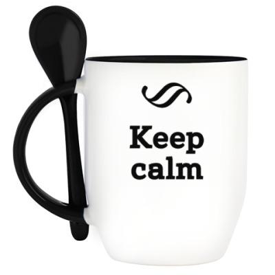 Кружка с ложкой Keep Calm