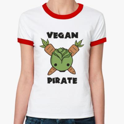 Женская футболка Ringer-T Веган пират