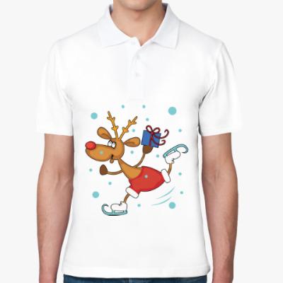 Рубашка поло Олень на коньках