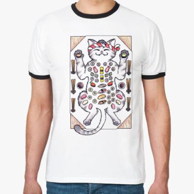Футболка Ringer-T Sushi & Cat