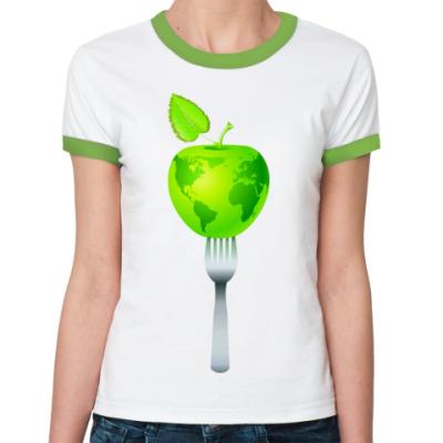 Женская футболка Ringer-T Earth Vegan