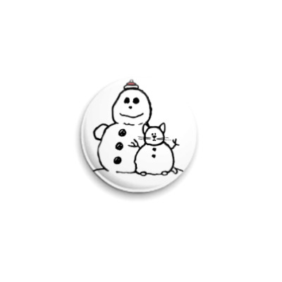 Значок 25мм  Снеговики #2