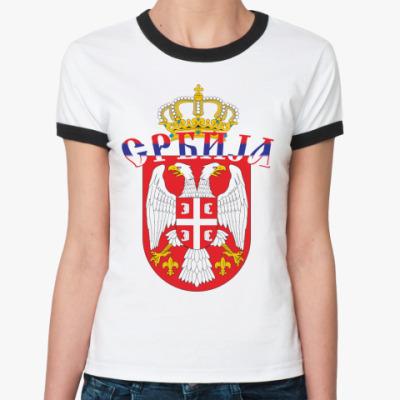 Женская футболка Ringer-T Малый герб Сербии