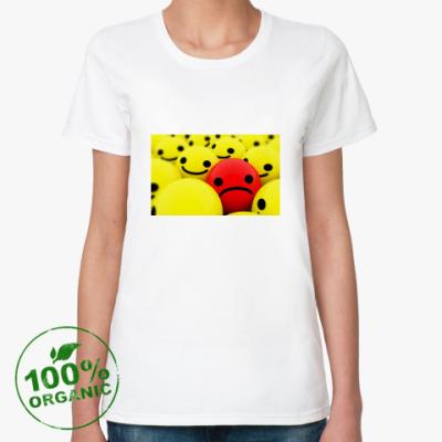Женская футболка из органик-хлопка смайлики