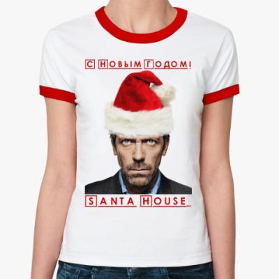 Женская футболка Ringer-T Santa House