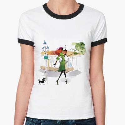 Женская футболка Ringer-T Девушка с собачкой