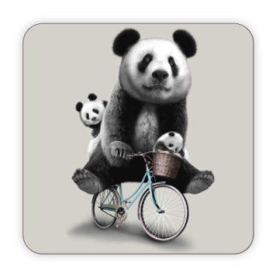 Костер (подставка под кружку) Панды на велосипеде