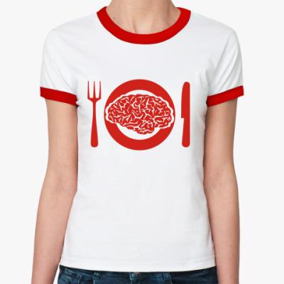 Женская футболка Ringer-T Тарелка с мозгами