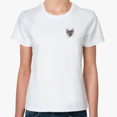 Классическая футболка Сердце из бабочек