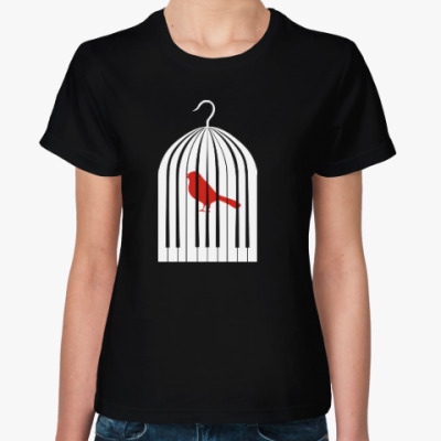 Женская футболка Птичка клетка