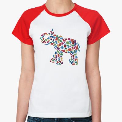 Женская футболка реглан Слон - мозаика