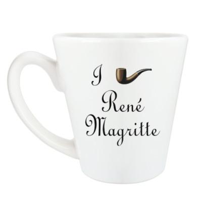 Чашка Латте Я люблю Рене Магритта (трубка)