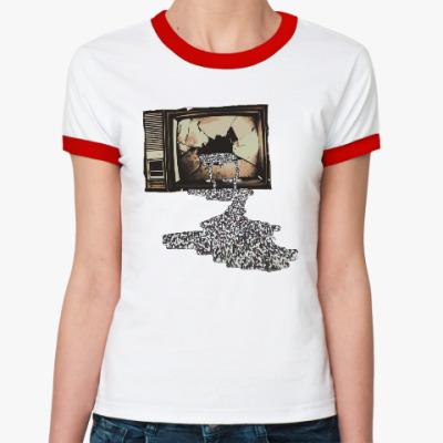 Женская футболка Ringer-T Разбитый телевизор