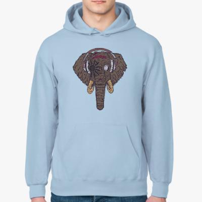 Толстовка худи Слон в наушниках