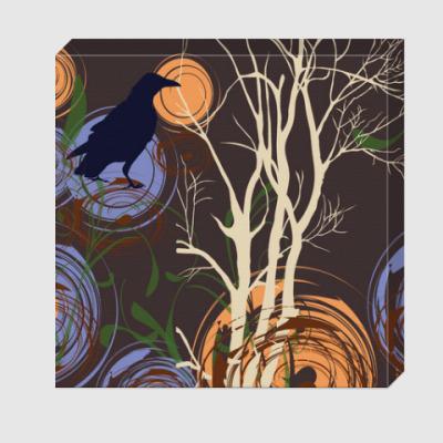 Холст Ворона и дерево