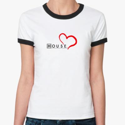 Женская футболка Ringer-T House love