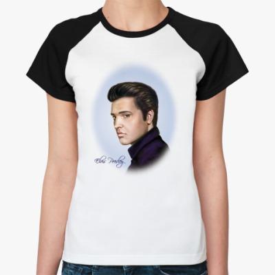 Женская футболка реглан Elvis Presley, портрет