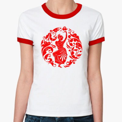Женская футболка Ringer-T  русско-индийский узор