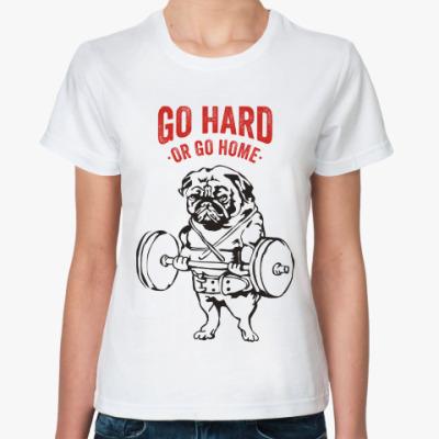 Классическая футболка Мопс собака культурист качок