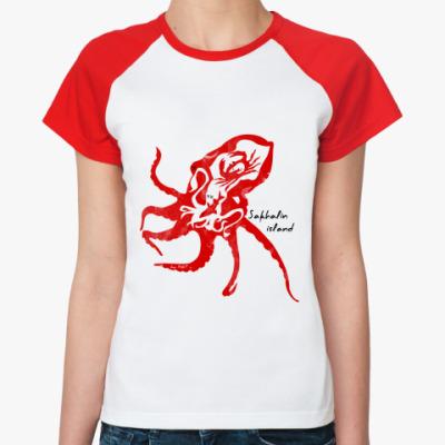 Женская футболка реглан Сахалин,Sakhalin