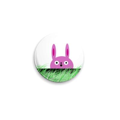 Значок 25мм  25 мм розовый заяц