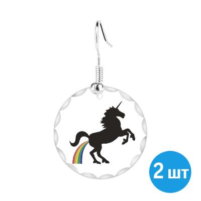 Серьги Единорог и радуга
