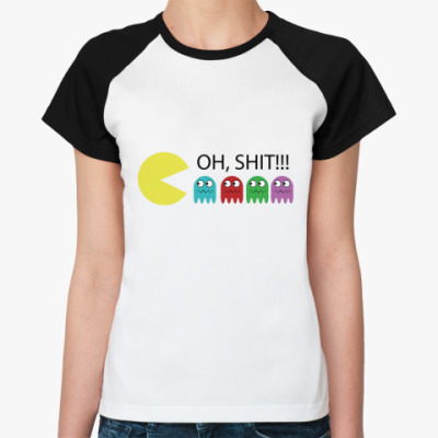 Женская футболка реглан Pacman  Ж (бел/чёрн)