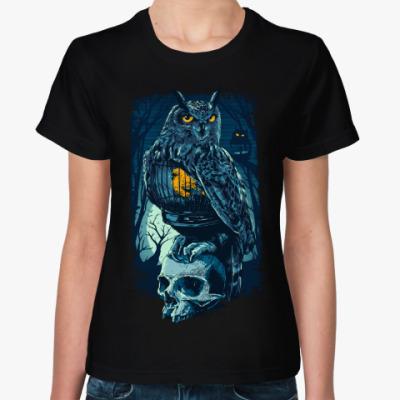 Женская футболка Сова и Череп