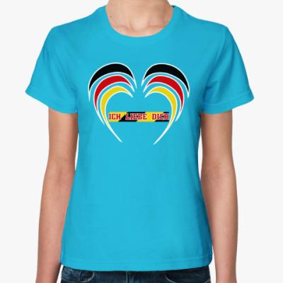 Женская футболка Я люблю тебя по-немецки