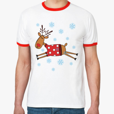 Футболка Ringer-T Новогодний олень в свитере
