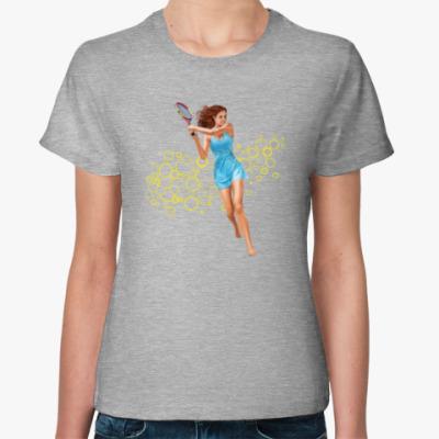 Женская футболка Девушка с теннисной ракеткой