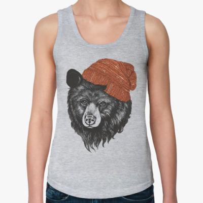 Женская майка Медведь в шапке