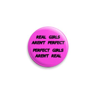 Значок 25мм  25 мм RealGirls pink