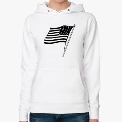 Женская толстовка худи Флаг Америки