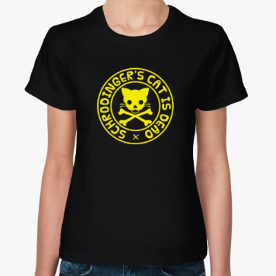 Женская футболка Кот Шредингера. Schredinger's