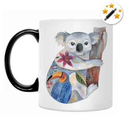 Кружка-хамелеон Коала и ленивец, милые маленькие зверушки акварель