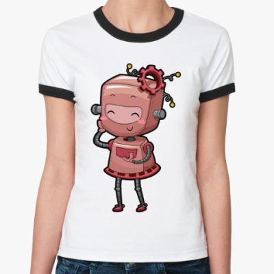 Женская футболка Ringer-T Робот девушка