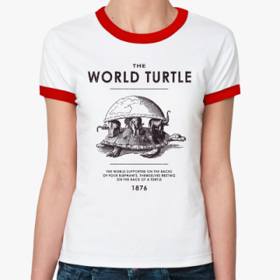 Женская футболка Ringer-T  World Turtle