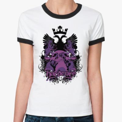 Женская футболка Ringer-T Hardcore  Ж()
