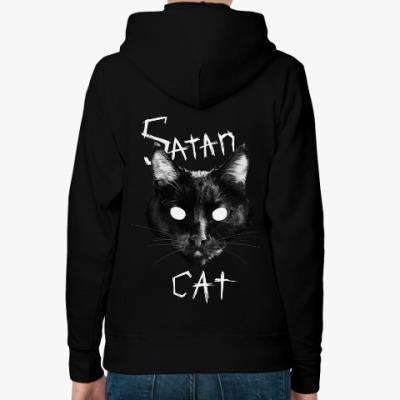 Женская толстовка худи Satan Cat