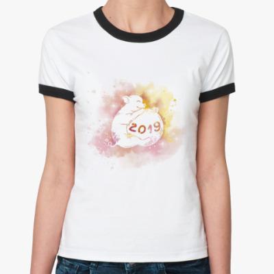 Женская футболка Ringer-T Новогодняя свинка 2019