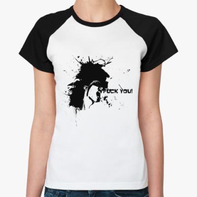 Женская футболка реглан Fuck  Жен (бел/чёрн)