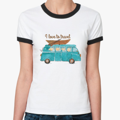 Женская футболка Ringer-T путешествие начинается!