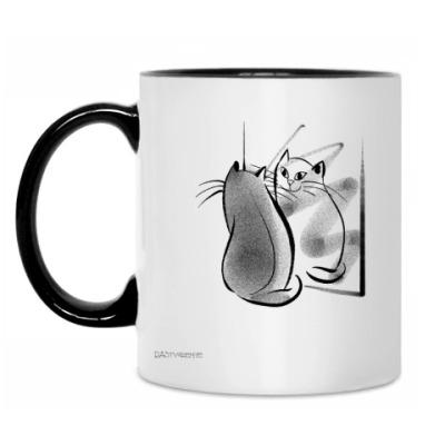 Кружка Отражение кота - день и ночь